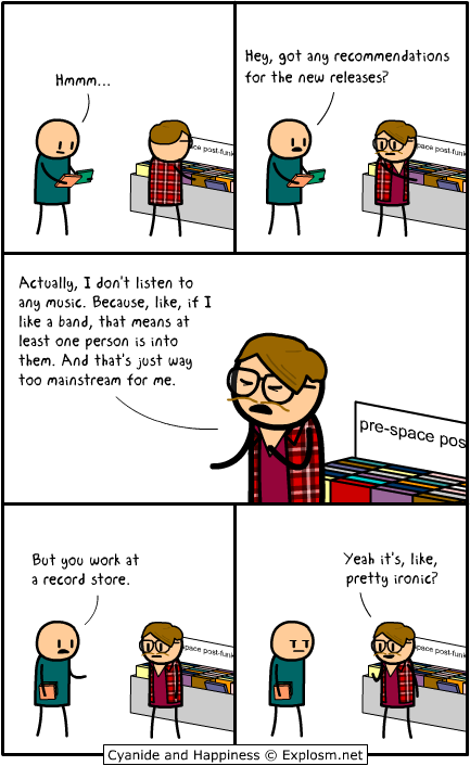 hipster works in record store