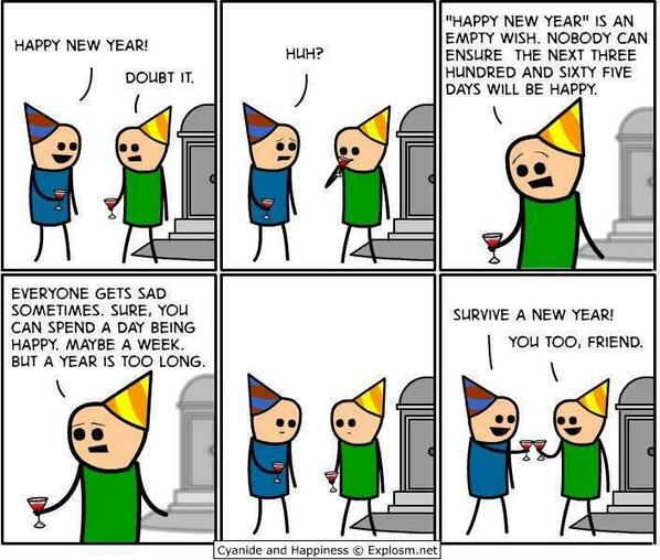 Cartoon - survive a new year