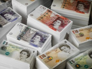 Piles of UK Banknotes